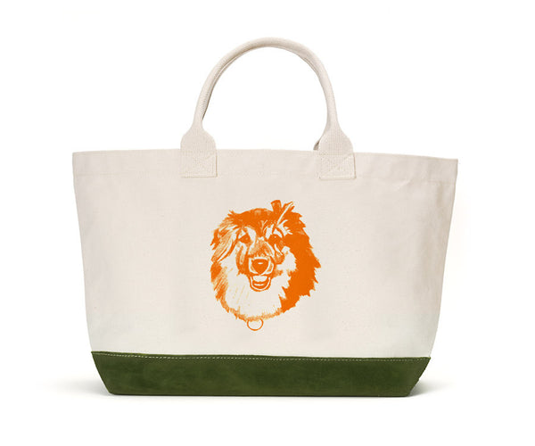 Green Suede Bottom with Orange Illustration