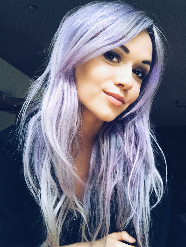 Blue pastel and purple hair photo