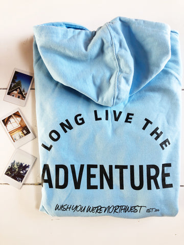 SPECIAL RELEASE HOODIE - Baby Blue Long Live The Adventure