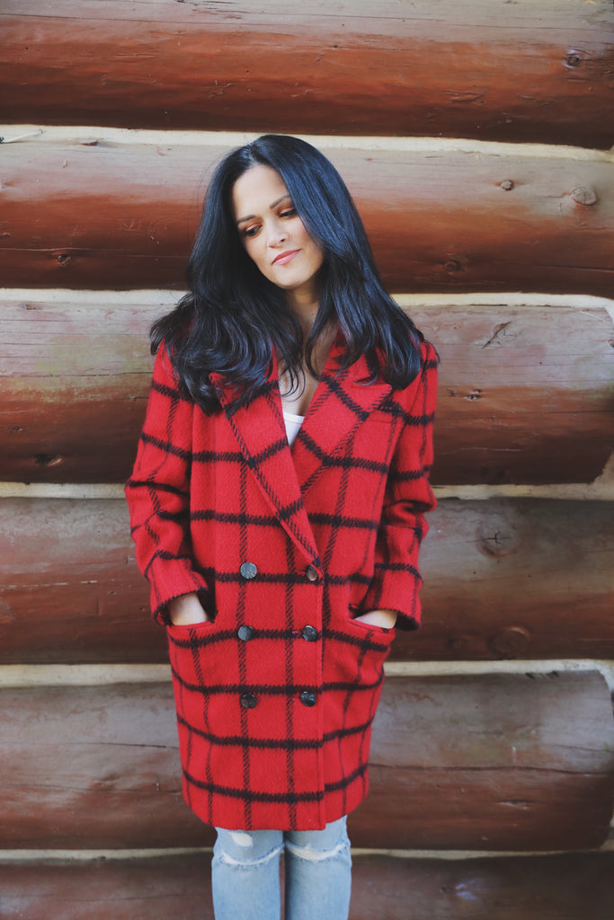 Vintage Plaid Peacoat