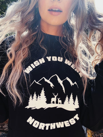 Mountains Boxy Crop Sweatshirt