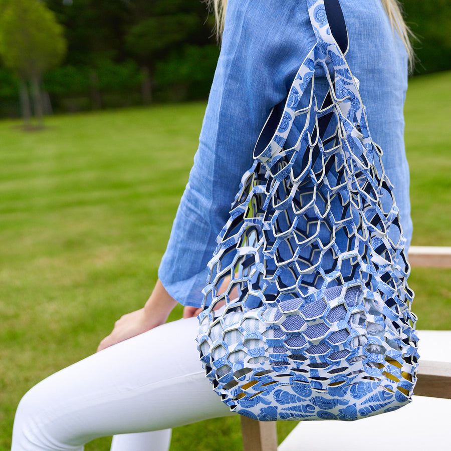 Fisherman's Tote: Dark Navy / LuluDK Caribbean Blue Shell Print