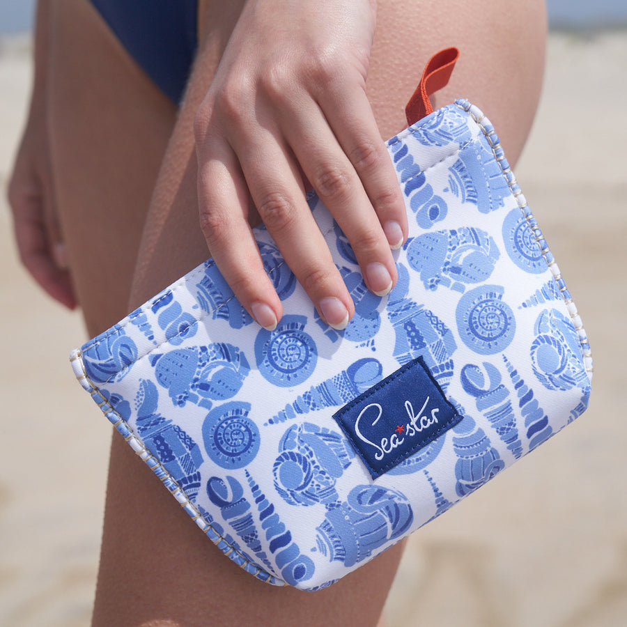 Small Voyager Pouch: LuluDK Caribbean Blue Shell Print
