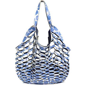 LULUDK CARIBBEAN BLUE SHELL / DARK NAVY <p> FISHERMANS TOTE