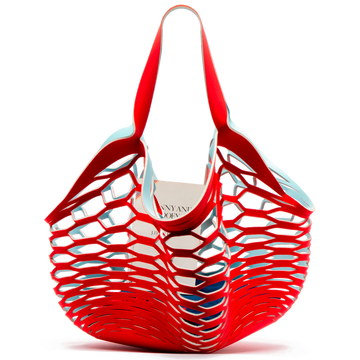 FRANCES VALENTINE LIGHT BLUE / RED <p> FISHERMANS TOTE