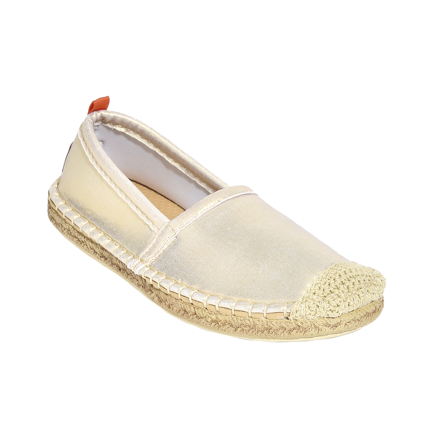 Beachcomber Espadrille: Kids White Gold