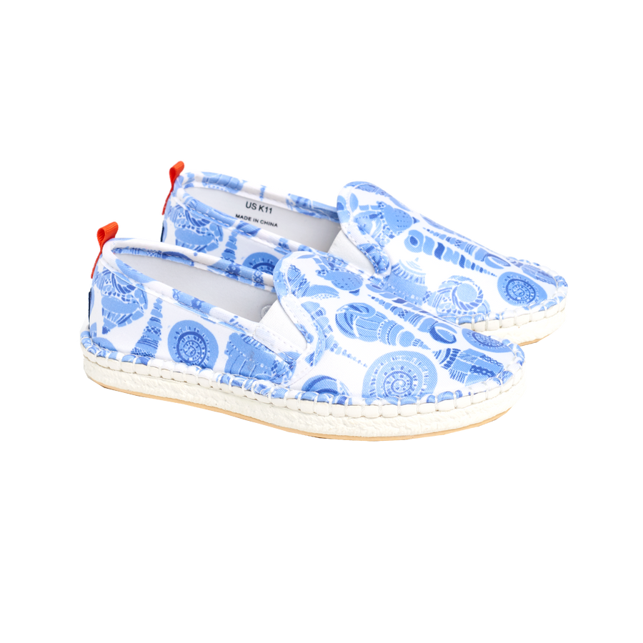 LuLuDK CARIBBEAN BLUE SHELL WITH WHITE SOLE <p> MARINER SLIP-ON