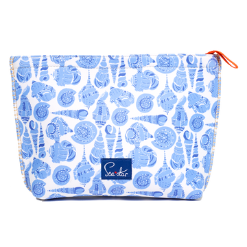 LULUDK CARIBBEAN BLUE SHELL <p> LARGE VOYAGER POUCH