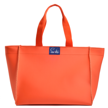 Large Voyager Tote: Trèfle Orange/Palm Print
