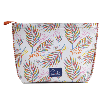 TRÈFLE PALM PRINT/ORANGE<p>LARGE VOYAGER POUCH