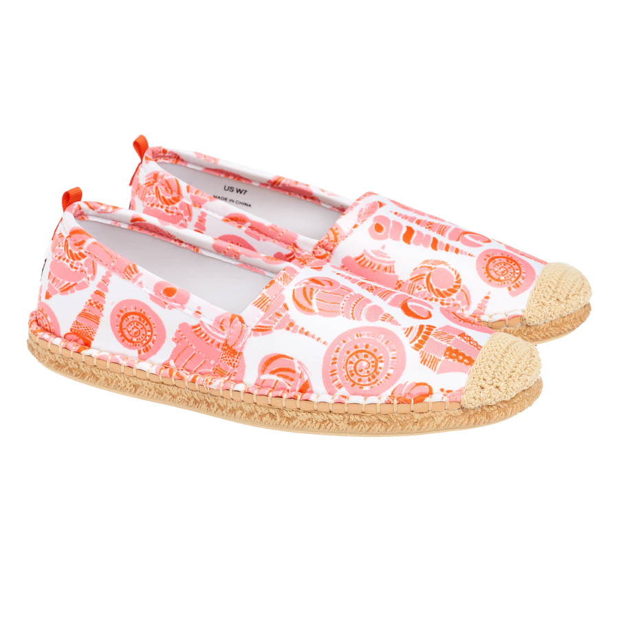 Beachcomber Espadrille: Womens LuluDK Coral Shell Print