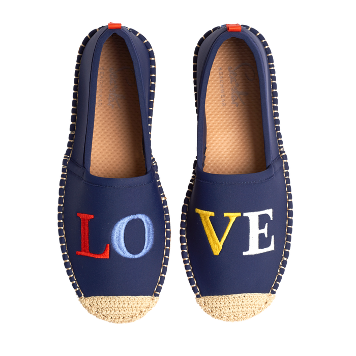 Beachcomber Espadrille: Womens LuluDK Dark Navy Love Embroidery