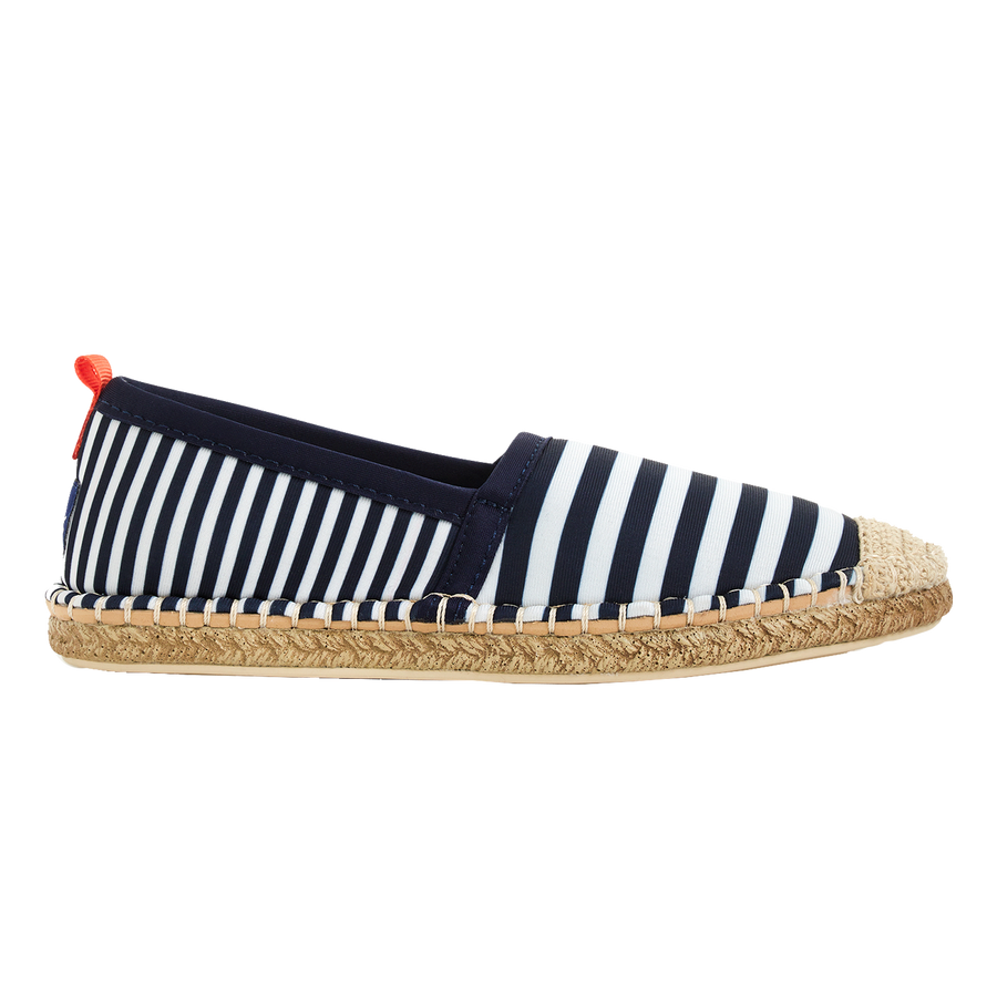 NAVY/WHITE MIXED STRIPE <p> WOMENS BEACHCOMBER ESPADRILLE