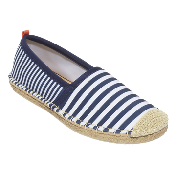 Beachcomber Espadrille: Womens Navy/White Mixed Stripe