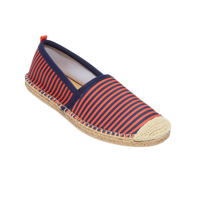 Beachcomber Espadrille: Womens Navy/Orange Microstripe
