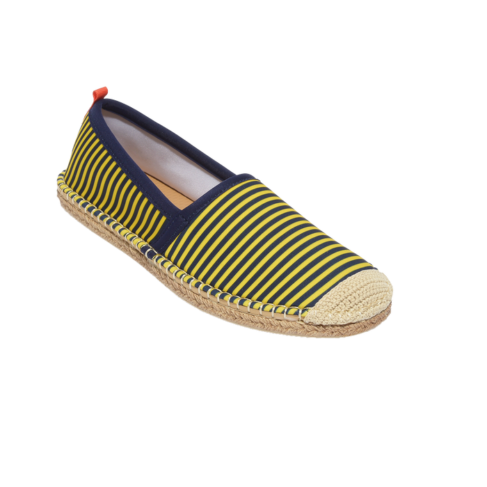 Beachcomber Espadrille: Womens Navy/Yellow Microstripe