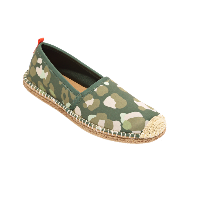 Beachcomber Espadrille: Womens Olive Leopard