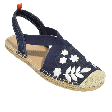 Seafarer Slingback: Womens Dark Denim w/ White Embroidery