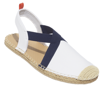 Seafarer Slingback: Womens White with Navy Elastic