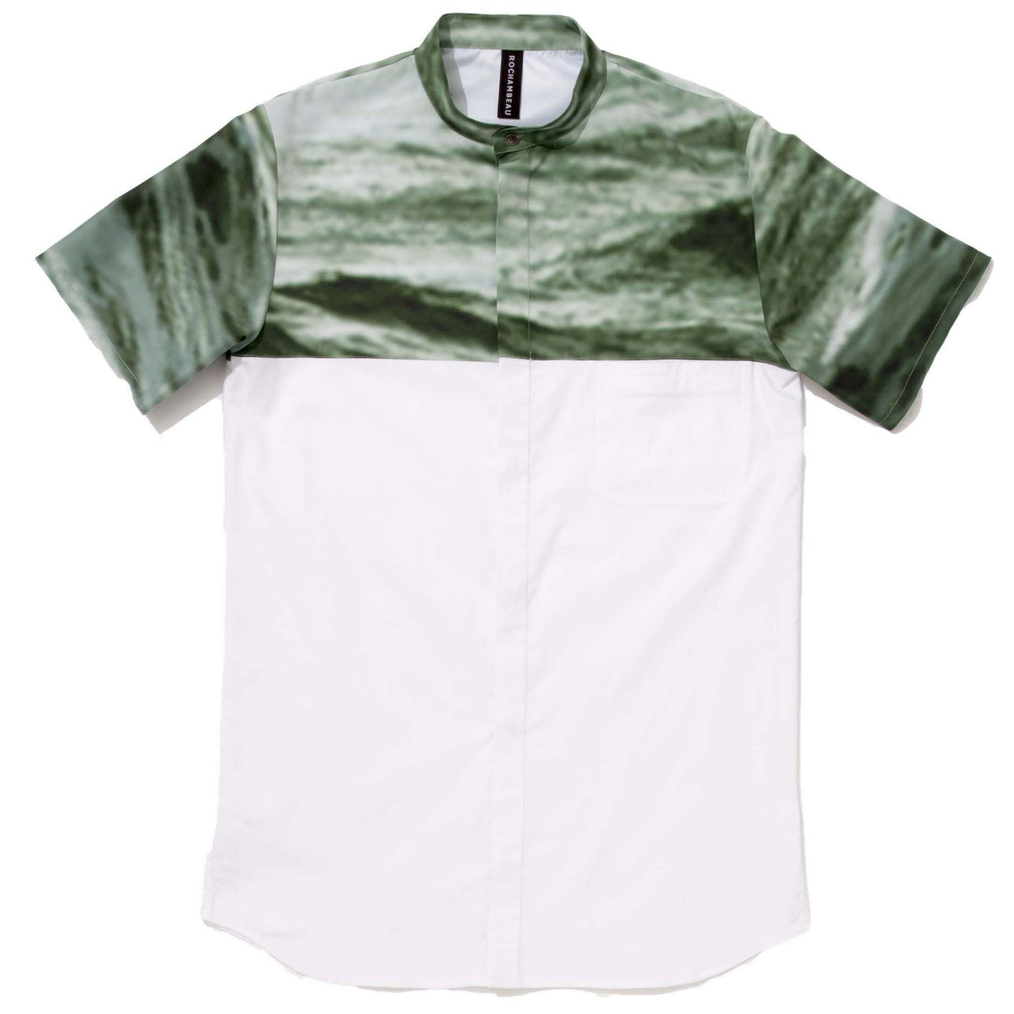 Ocean Combo Band Collar Shirt