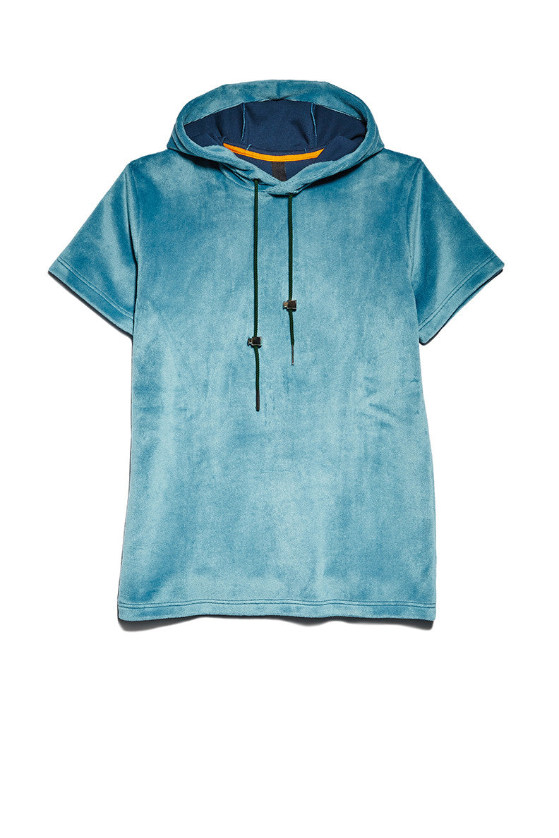 Short Sleeved Hoodie in Blue