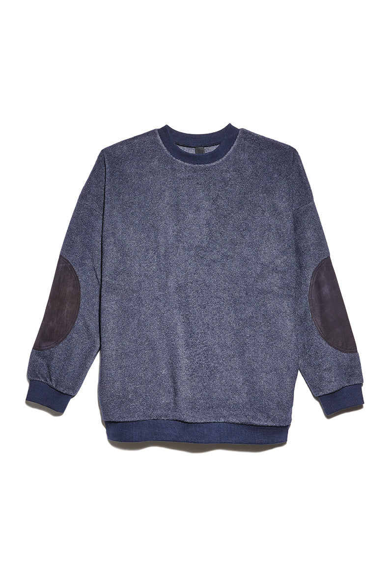 Elbow Patch Sweater in Navy