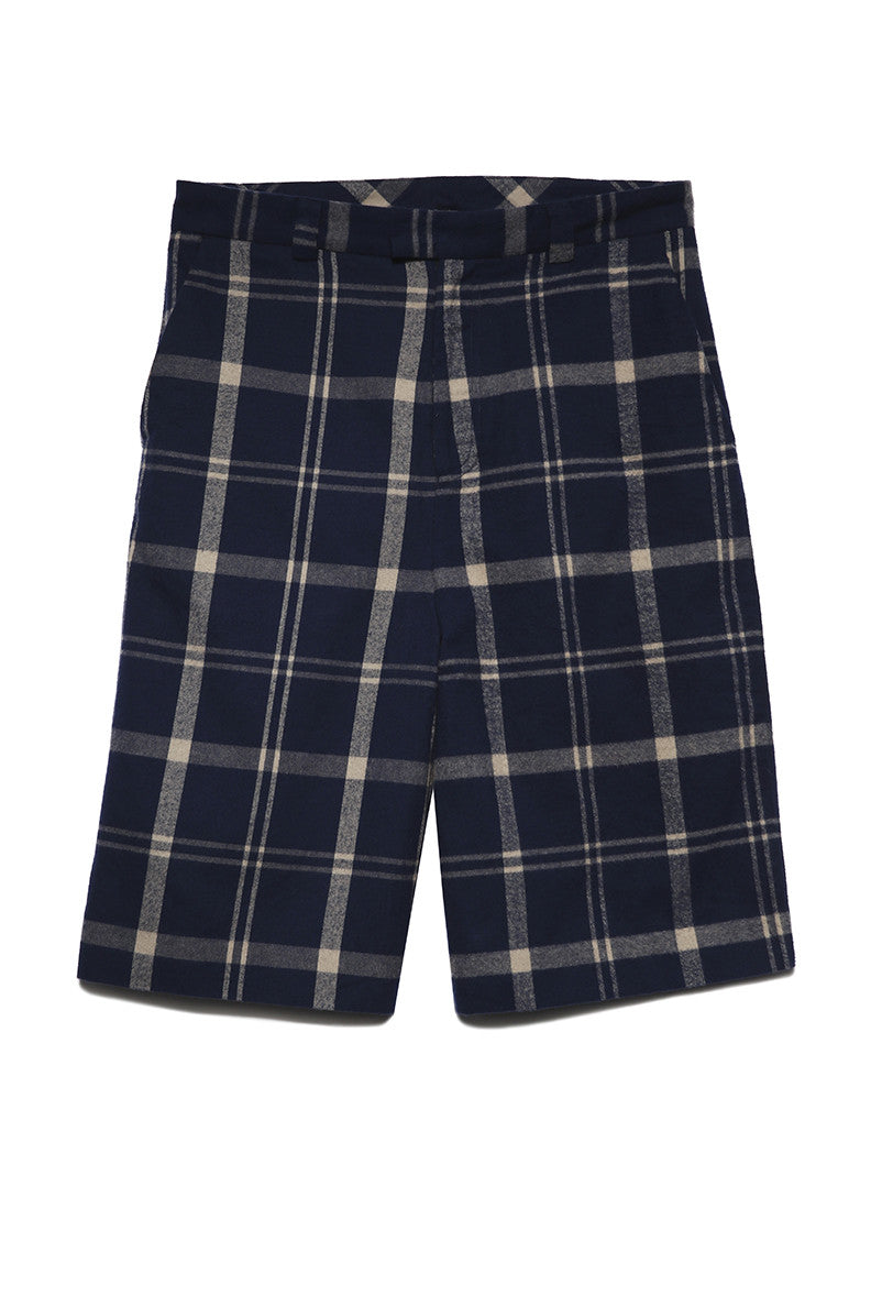 Side Zip Shorts in Navy Plaid