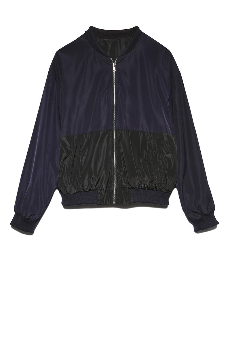 Light Weight Bomber Jacket in Navy & Black