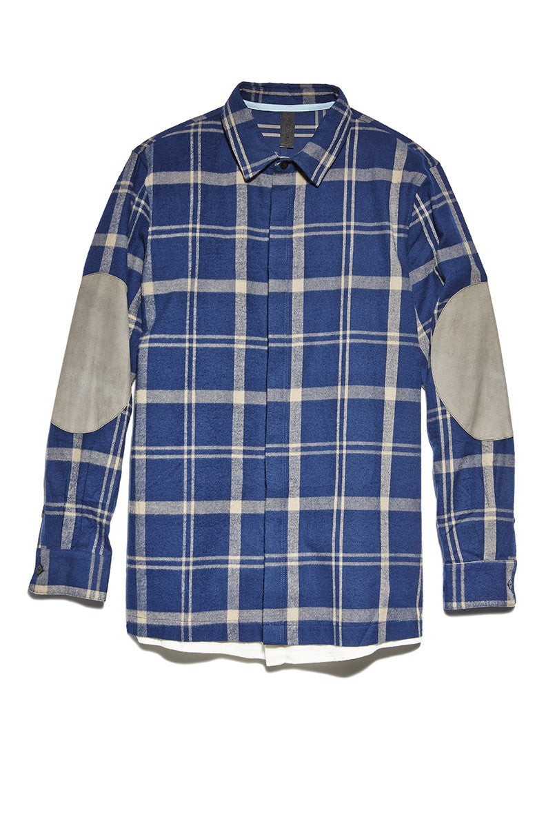 Trompe L'oeil Hem Shirt with Elbow Pads in Blue Plaid