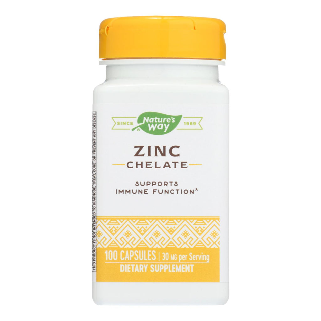 Nature's Way - Zinc Chelate - 30 Mg - 100 Capsules