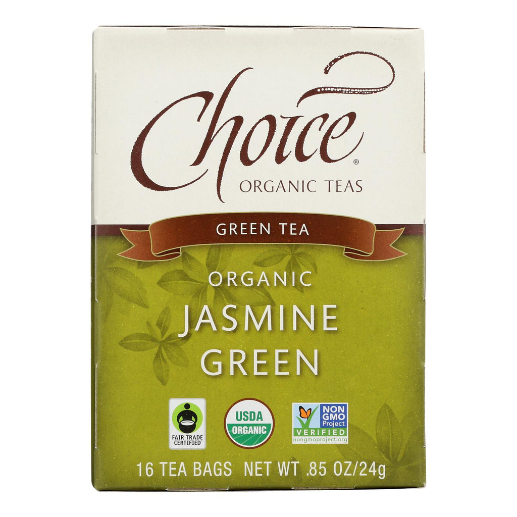 Choice Organic Teas Jasmine Green Tea - 16 Tea Bags - Case Of 6
