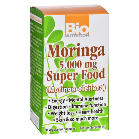 Bio Nutrition - Moringa 5000 Mg Super Food - 60 Vegetable Capsules