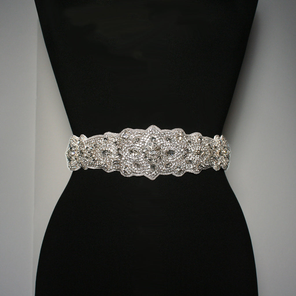 "Bridal Sash with 21"" Crystal Applique - BL32"