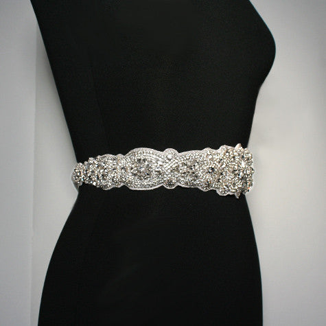 "Bridal Sash with 21"" Crystal Applique, side view"
