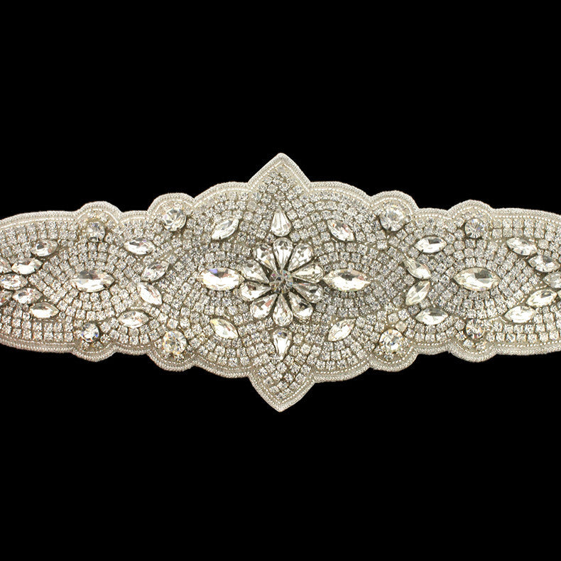 "Bridal Sash with 21"" Crystal Applique - detail"