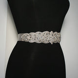 Bridal Sash with Detailed Crystal Applique - side view