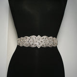 Bridal Sash with Detailed Crystal Applique - BL34