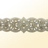 Bridal Sash with Detailed Crystal Applique - detail