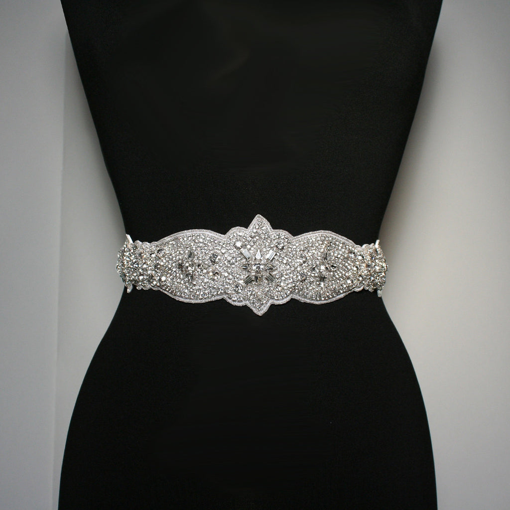 Crystal Bridal Sash on Satin Ribbon - BL38
