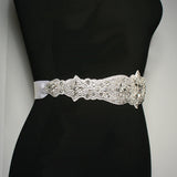 Crystal Bridal Sash on Satin Ribbon - alt view