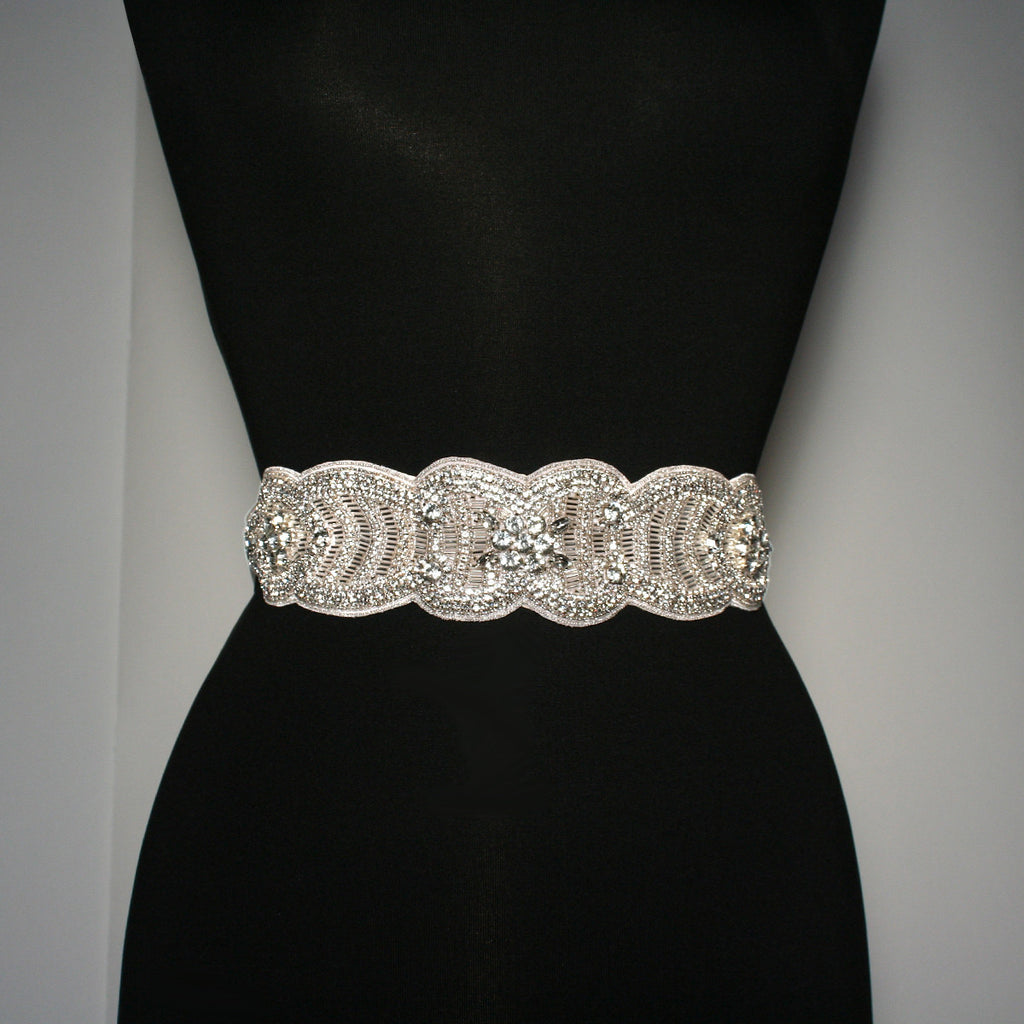 "Bridal Sash with 9"" Crystal Applique - BL39"