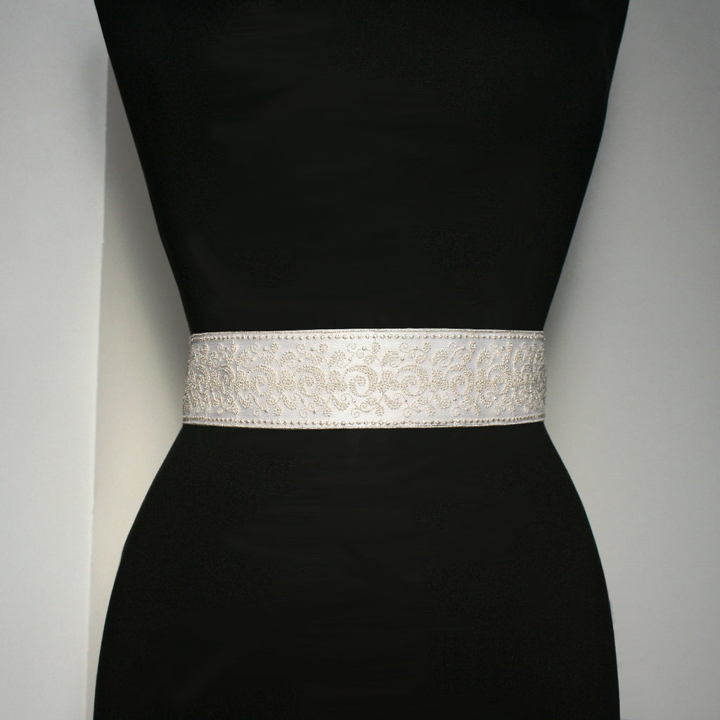 Bridal Sash with Embroidered Lace Over Satin Ribbon, front