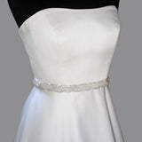 Crystal Bridal Sash with Braided Pattern, alt view
