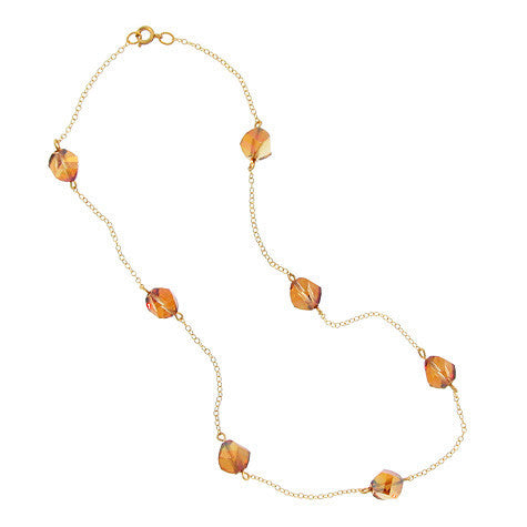 Copper-Orange Crystal Chain Necklace - CH8