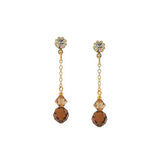 Chain Earrings with Brown & Champagne Crystal - CH15E