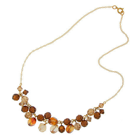 Champagne & Brown Clustered Crystal Necklace - CH15N