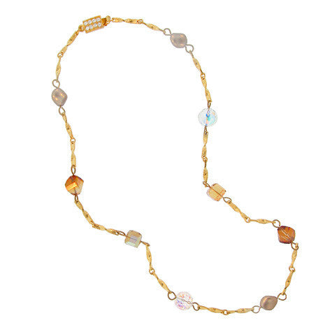 Chain Necklace with Various Swarovski Beads - CH9