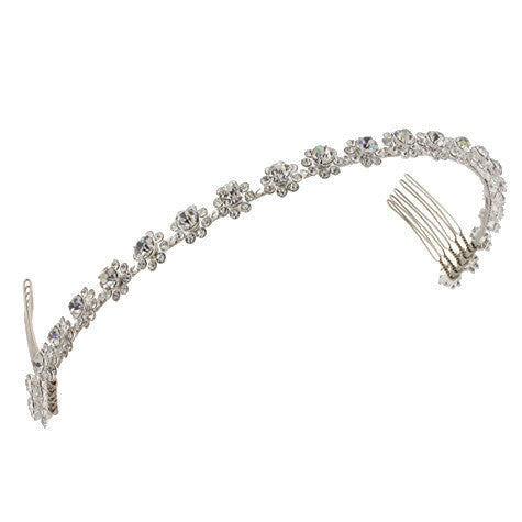 Bridal Headband with Single Row of Crystal Flowers - D6423HB