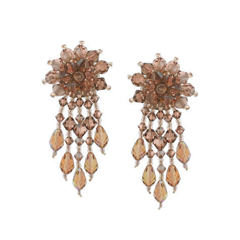Champagne Woven Earrings with Dangles - E62C