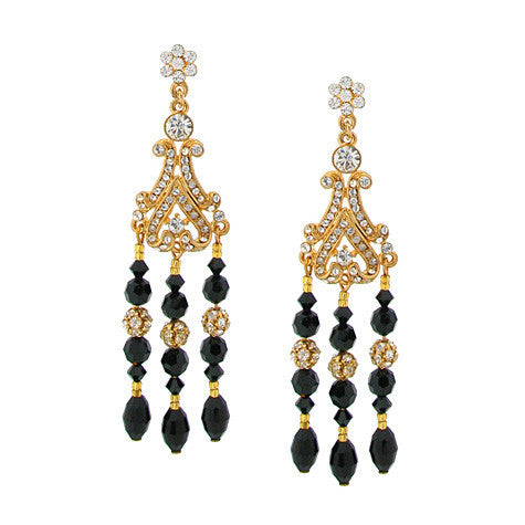 "3"" Black and Gold Chandelier Earrings - GH91E-CHX"
